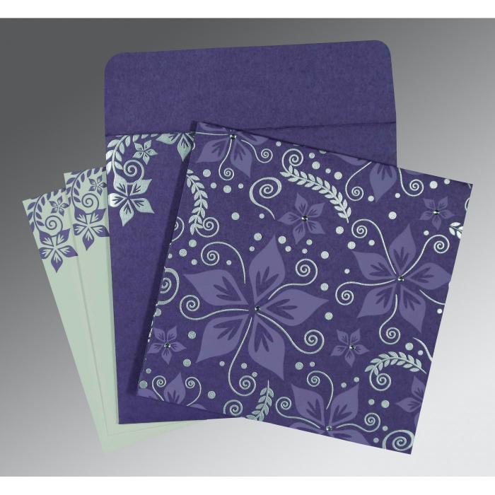 Purple Matte Floral Themed - Screen Printed Wedding Invitation : RU-8240B - 123WeddingCards