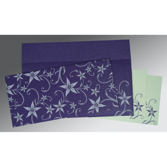DARK PURPLE MATTE FLORAL THEMED - SCREEN PRINTED WEDDING INVITATION : W-8225H - 123WeddingCards