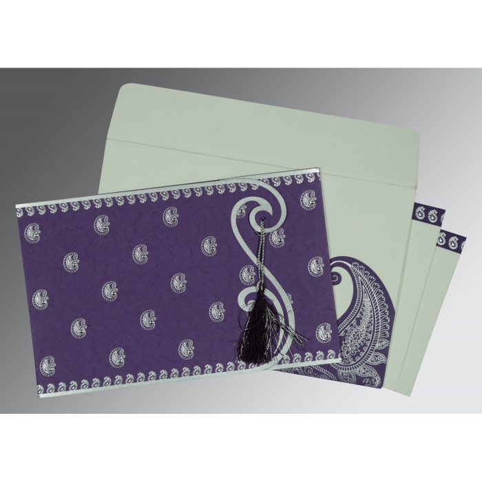 Purple Matte Paisley Themed - Screen Printed Wedding Invitation : D-8252B - 123WeddingCards