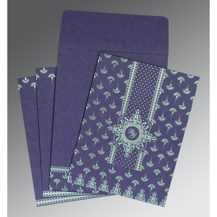 Purple Matte Screen Printed Wedding Invitation : C-8247C - 123WeddingCards
