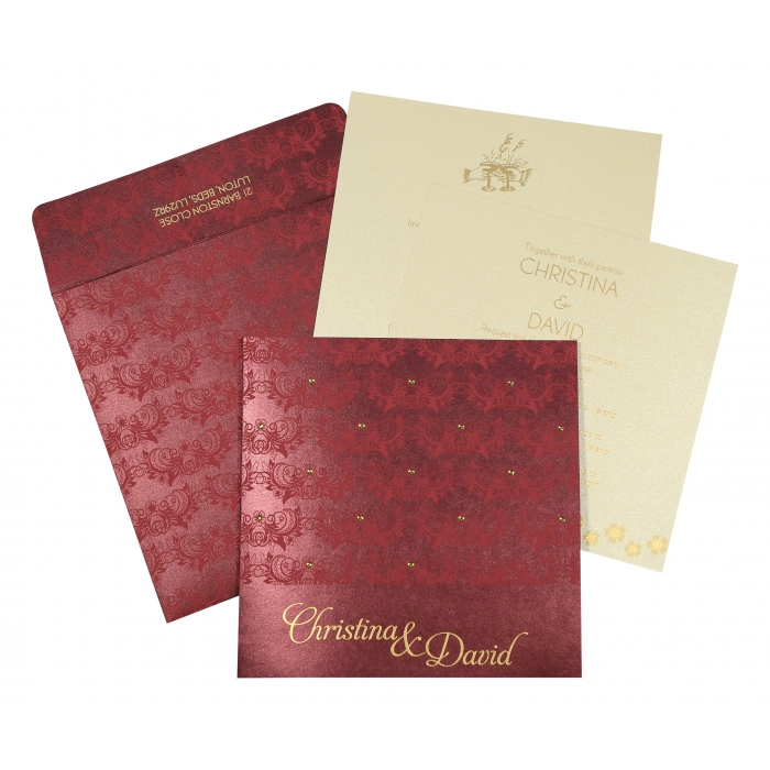 DARK RED SHIMMERY BUTTERFLY THEMED - SCREEN PRINTED WEDDING CARD : IN-8258C - 123WeddingCards