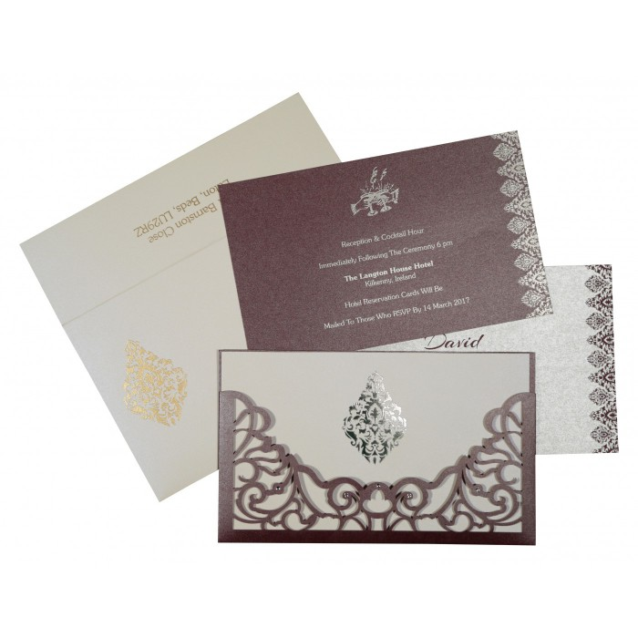 Purple Shimmery Damask Themed - Laser Cut Wedding Card : RU-8262B - 123WeddingCards