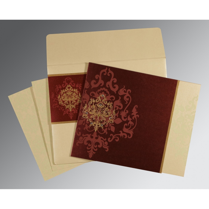 DERBY BROWN SHIMMERY DAMASK THEMED - SCREEN PRINTED WEDDING CARD : D-8253F - 123WeddingCards