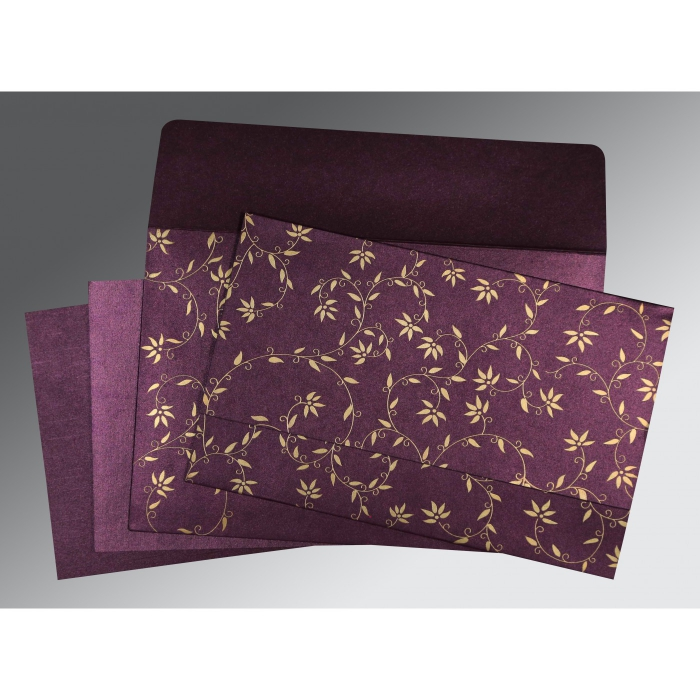 PURPLE SHIMMERY FLORAL THEMED - SCREEN PRINTED WEDDING INVITATION : D-8226P - 123WeddingCards