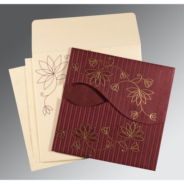 Purple Shimmery Floral Themed - Screen Printed Wedding Invitation : I-8251C - 123WeddingCards