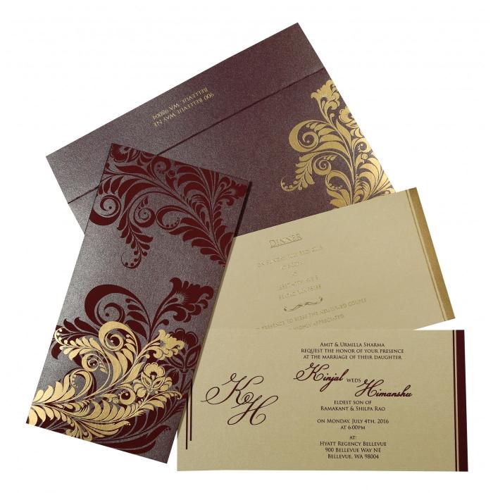 Purple Shimmery Floral Themed - Screen Printed Wedding Invitations : I-8259F - 123WeddingCards