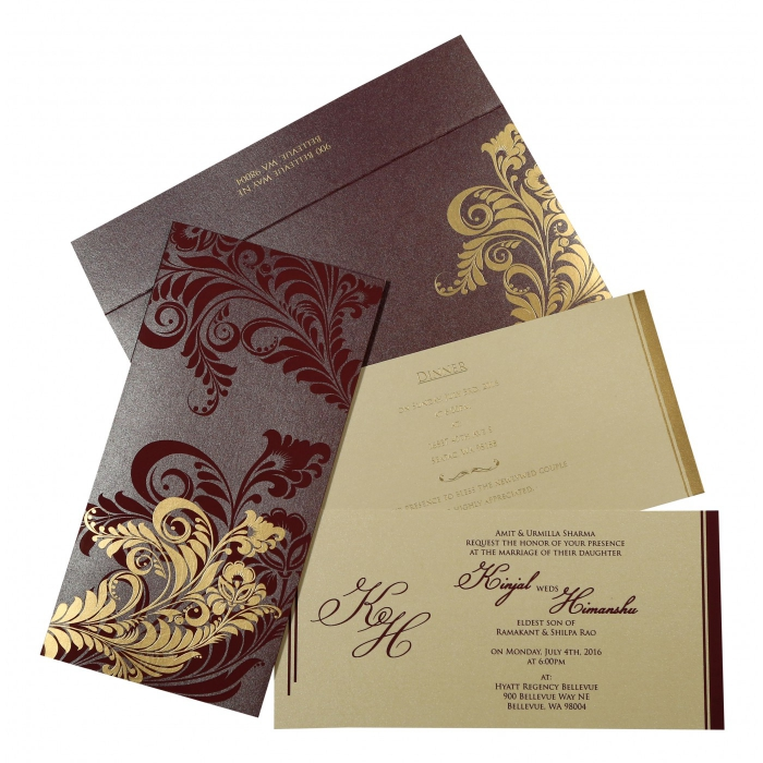 Purple Shimmery Floral Themed - Screen Printed Wedding Invitations : IN-8259F - 123WeddingCards