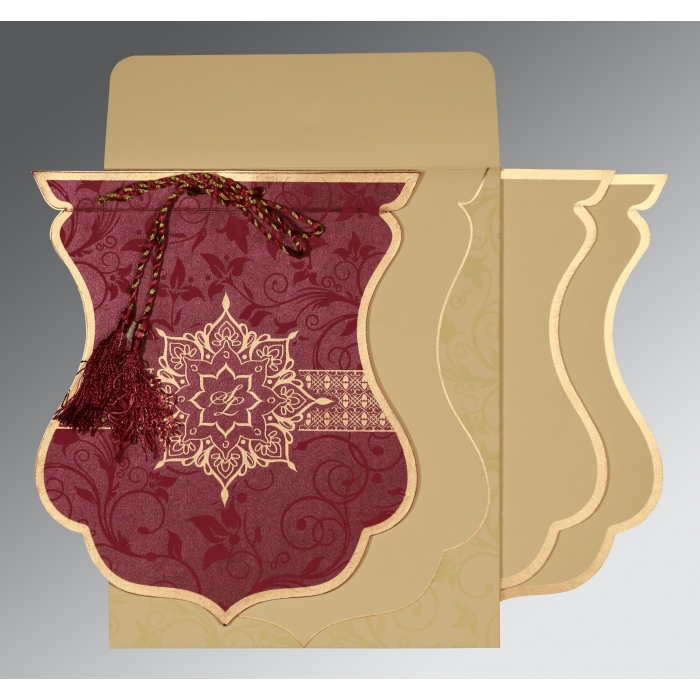 CLARET SHIMMERY FLORAL THEMED - SCREEN PRINTED WEDDING CARD : W-8229K - 123WeddingCards