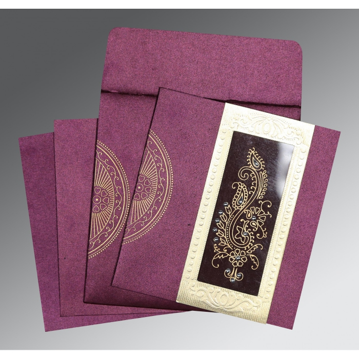 DARK PURPLE SHIMMERY PAISLEY THEMED - FOIL STAMPED WEDDING INVITATION : D-8230K - 123WeddingCards