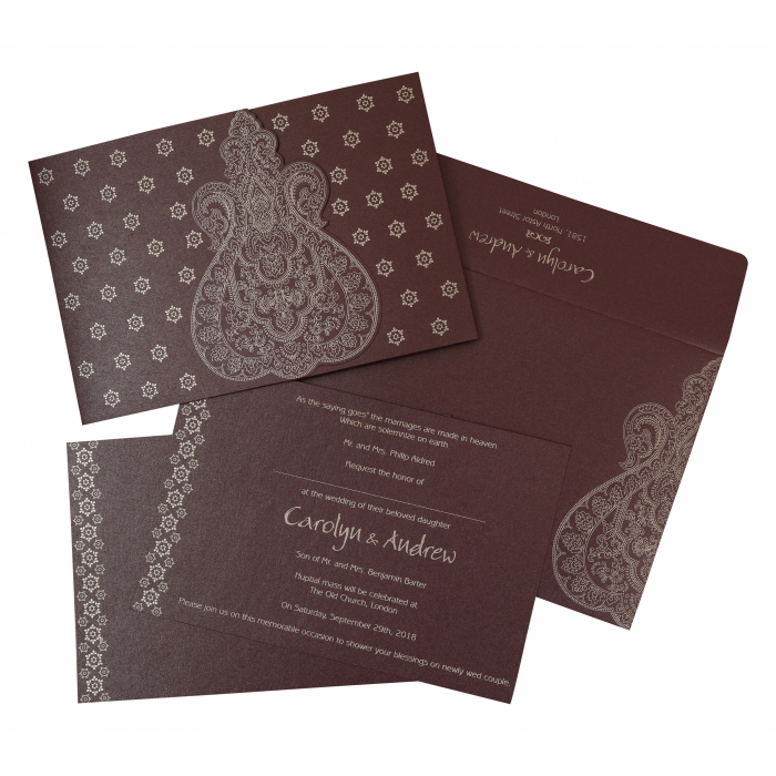 RAISIN SHIMMERY PAISLEY THEMED - SCREEN PRINTED WEDDING INVITATION : W-801C - 123WeddingCards