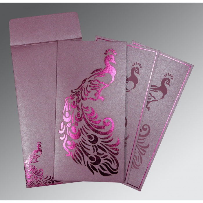 ORCHID SHIMMERY PEACOCK THEMED - LASER CUT WEDDING INVITATION : D-8255F - 123WeddingCards