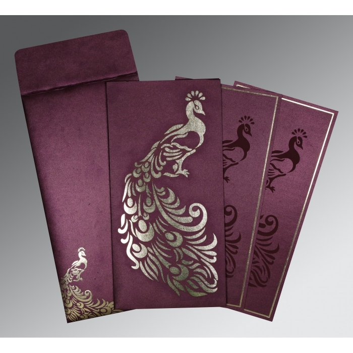 DARK ROSE SHIMMERY PEACOCK THEMED - LASER CUT WEDDING INVITATION : D-8255G - 123WeddingCards