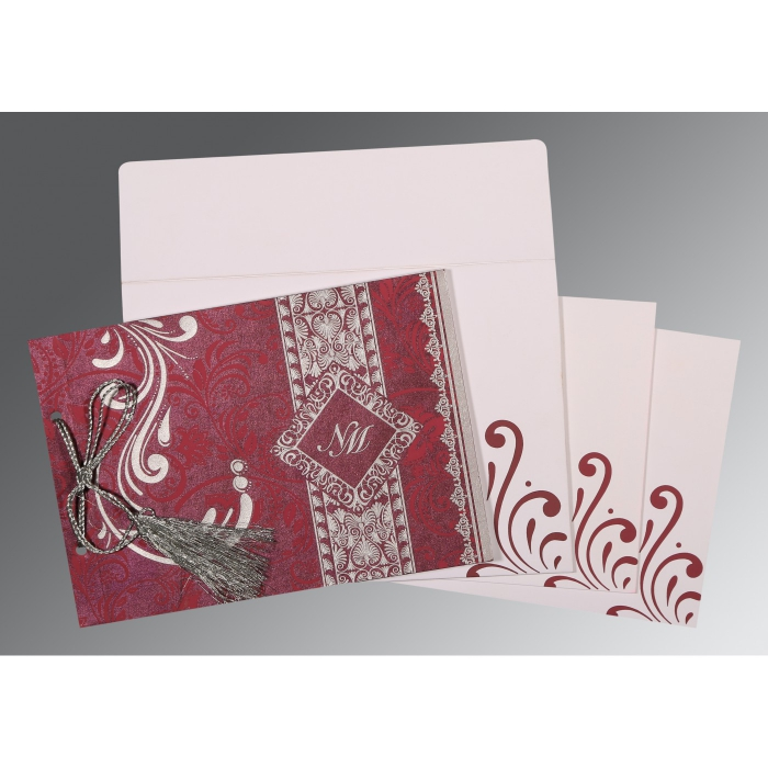 Purple Shimmery Screen Printed Wedding Card : SO-8223J - 123WeddingCards