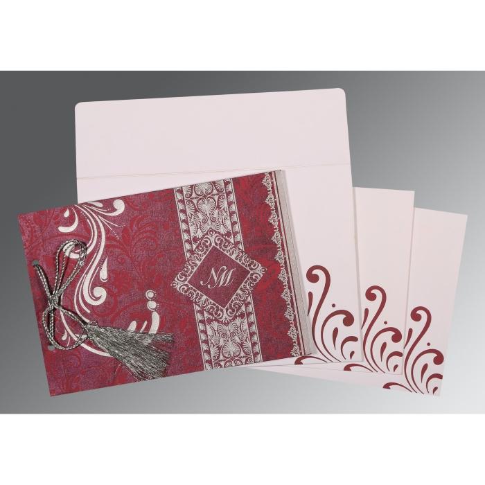 RAISIN SHIMMERY SCREEN PRINTED WEDDING CARD : W-8223J - 123WeddingCards