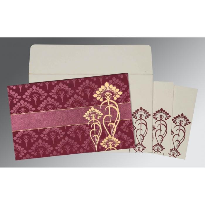CLARET SHIMMERY SCREEN PRINTED WEDDING CARD : W-8239B - 123WeddingCards