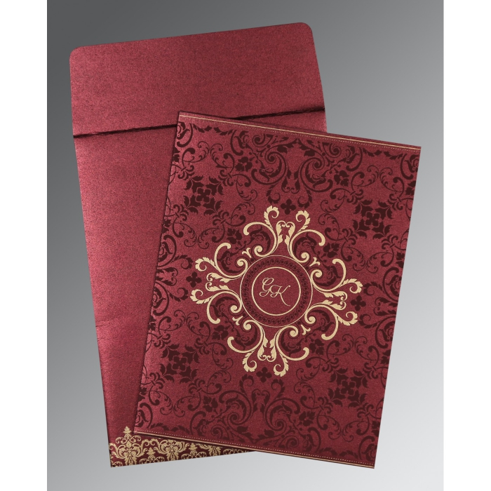 BURGUNDY SHIMMERY SCREEN PRINTED WEDDING CARD : W-8244H - 123WeddingCards