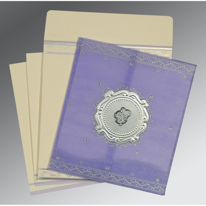 Purple Wooly Embossed Wedding Invitation : C-8202S - 123WeddingCards