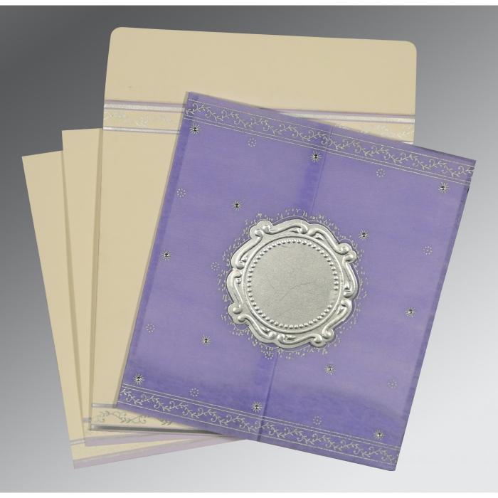 Purple Wooly Embossed Wedding Invitation : D-8202S - 123WeddingCards