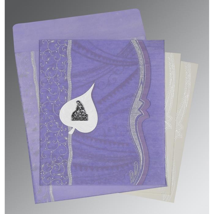 Purple Wooly Embossed Wedding Invitations : G-8210N - 123WeddingCards