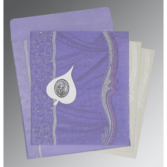 Purple Wooly Embossed Wedding Card : I-8210N - 123WeddingCards