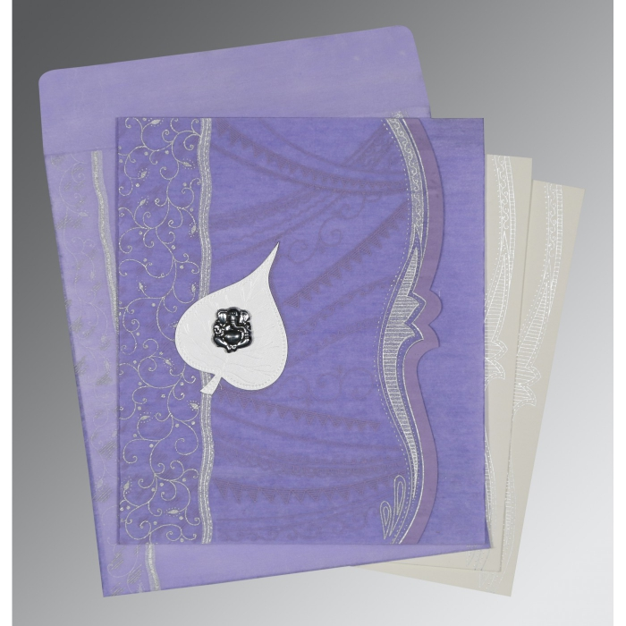 Purple Wooly Embossed Wedding Card : IN-8210N - 123WeddingCards