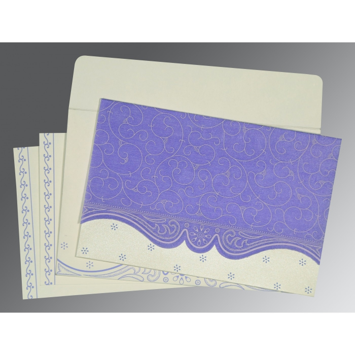 Purple Wooly Embossed Wedding Invitation : S-8221E - 123WeddingCards