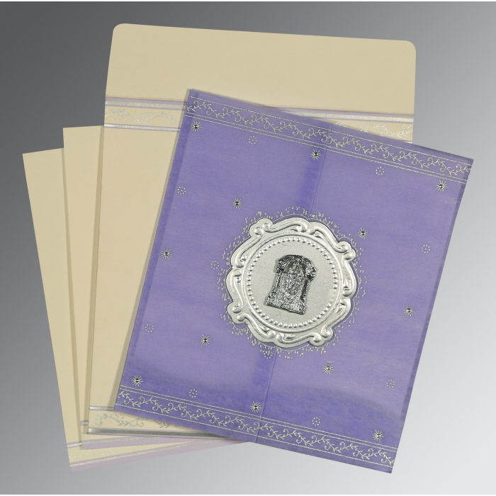Purple Wooly Embossed Wedding Invitation : SO-8202S - 123WeddingCards