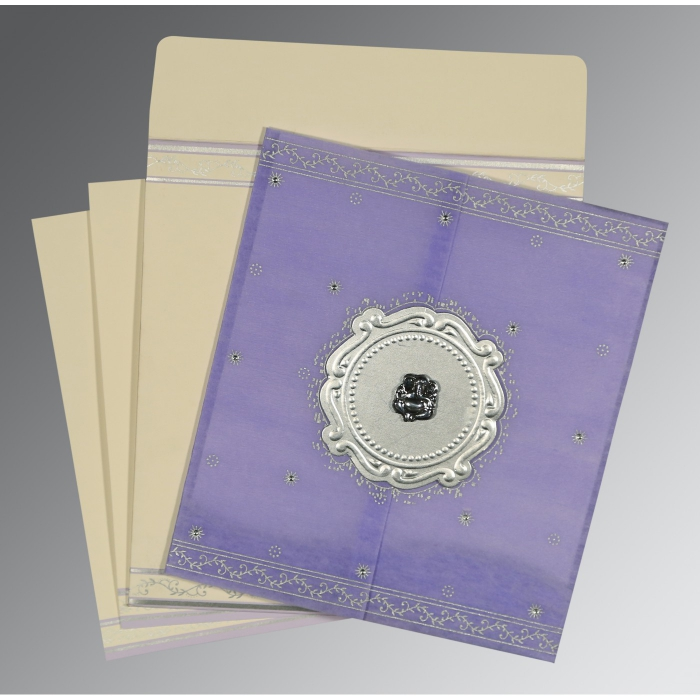 Purple Wooly Embossed Wedding Invitation : W-8202S - 123WeddingCards