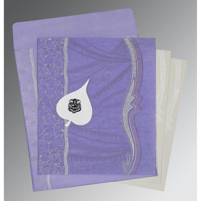 Purple Wooly Embossed Wedding Card : W-8210N - 123WeddingCards
