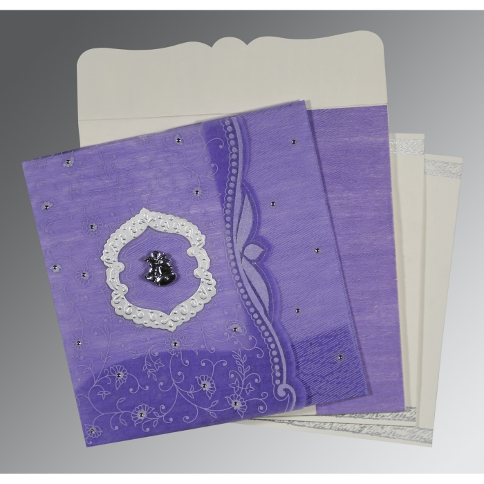 DARK PURPLE SHIMMERY FLORAL THEMED - EMBOSSED WEDDING CARD : C-8209C - 123WeddingCards