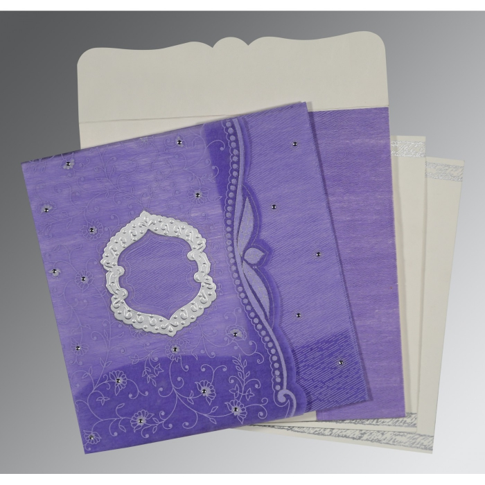 DARK PURPLE SHIMMERY FLORAL THEMED - EMBOSSED WEDDING CARD : D-8209C - 123WeddingCards