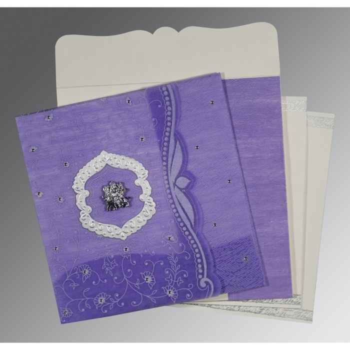 Purple Wooly Floral Themed - Embossed Wedding Invitations : G-8209C - 123WeddingCards