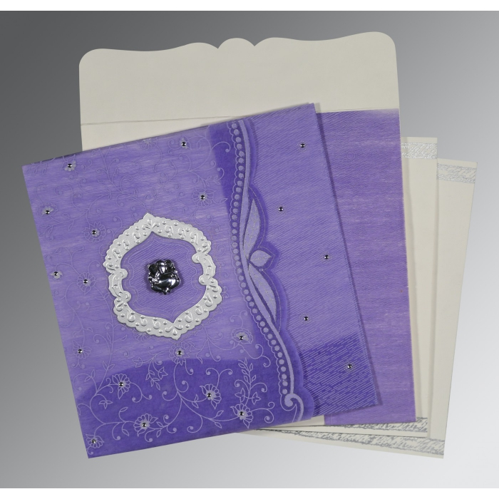 Purple Wooly Floral Themed - Embossed Wedding Invitations : IN-8209C - 123WeddingCards