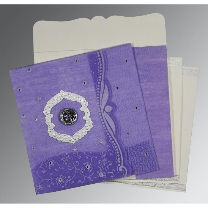 Purple Wooly Floral Themed - Embossed Wedding Card : RU-8209C - 123WeddingCards