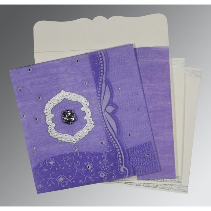 DARK PURPLE SHIMMERY FLORAL THEMED - EMBOSSED WEDDING CARD : W-8209C - 123WeddingCards