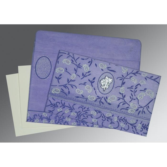 Purple Wooly Floral Themed - Glitter Wedding Card : I-8206A - 123WeddingCards