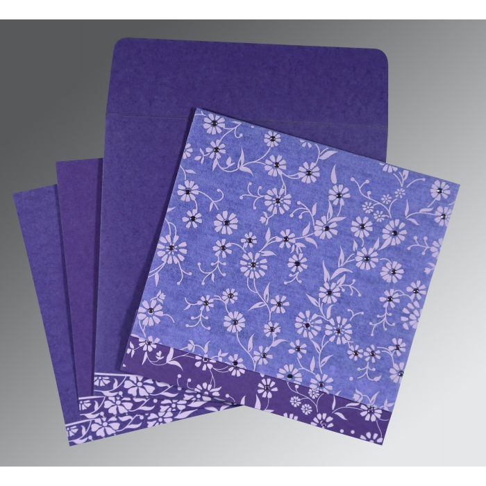 Purple Wooly Floral Themed - Screen Printed Wedding Card : C-8222O - 123WeddingCards