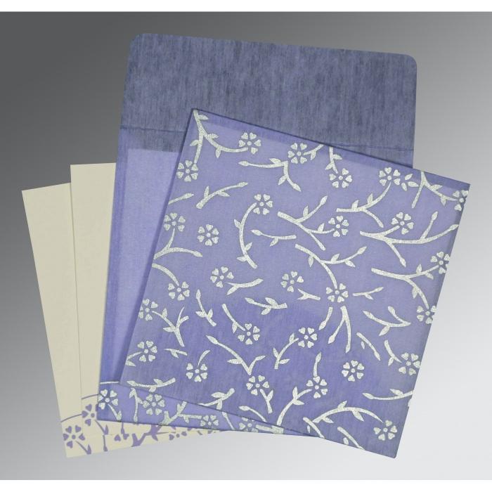 Purple Wooly Floral Themed - Screen Printed Wedding Invitation : I-8216Q - 123WeddingCards