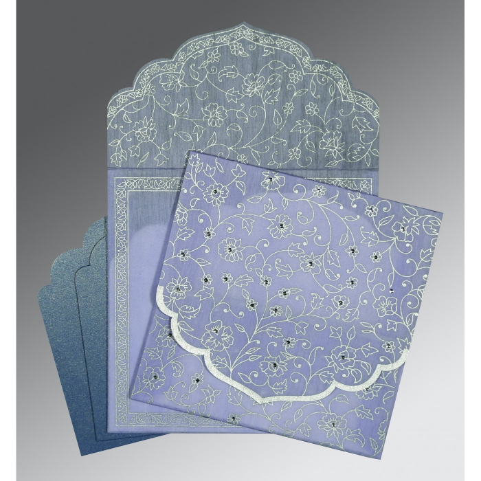 Purple Wooly Floral Themed - Screen Printed Wedding Invitation : S-8211O - 123WeddingCards