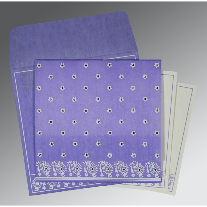 Purple Wooly Floral Themed - Screen Printed Wedding Card : W-8218H - 123WeddingCards