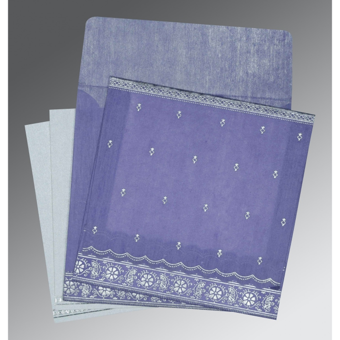Purple Wooly Foil Stamped Wedding Card : D-8242C - 123WeddingCards