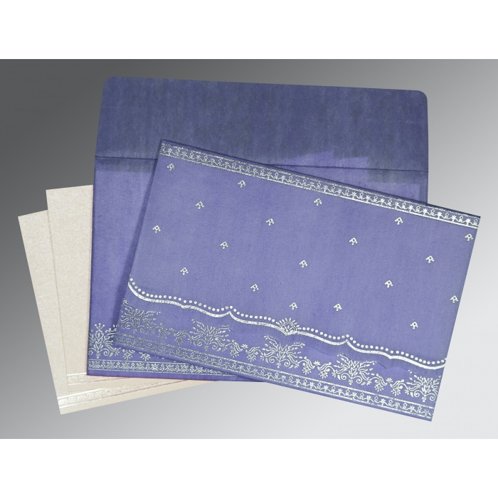 Purple Wooly Foil Stamped Wedding Invitation : RU-8241D - 123WeddingCards