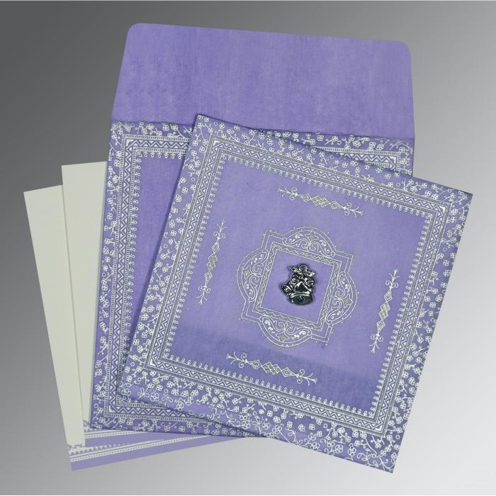 Purple Wooly Glitter Wedding Card : C-8205F - 123WeddingCards
