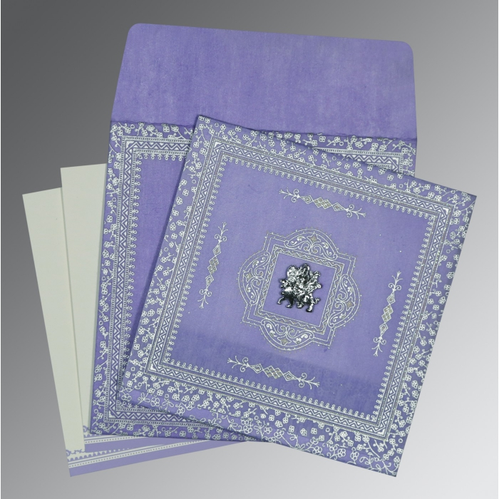 Purple Wooly Glitter Wedding Card : G-8205F - 123WeddingCards
