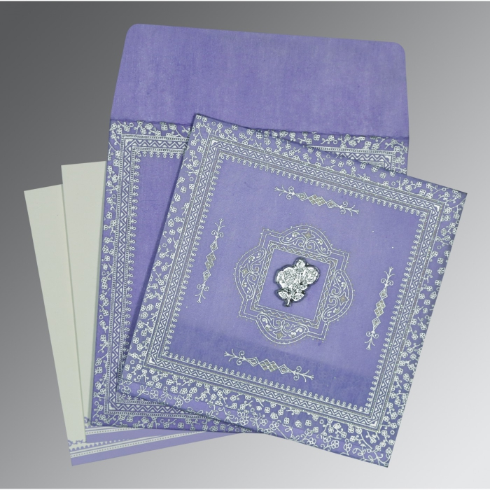 Purple Wooly Glitter Wedding Invitations : I-8205F - 123WeddingCards