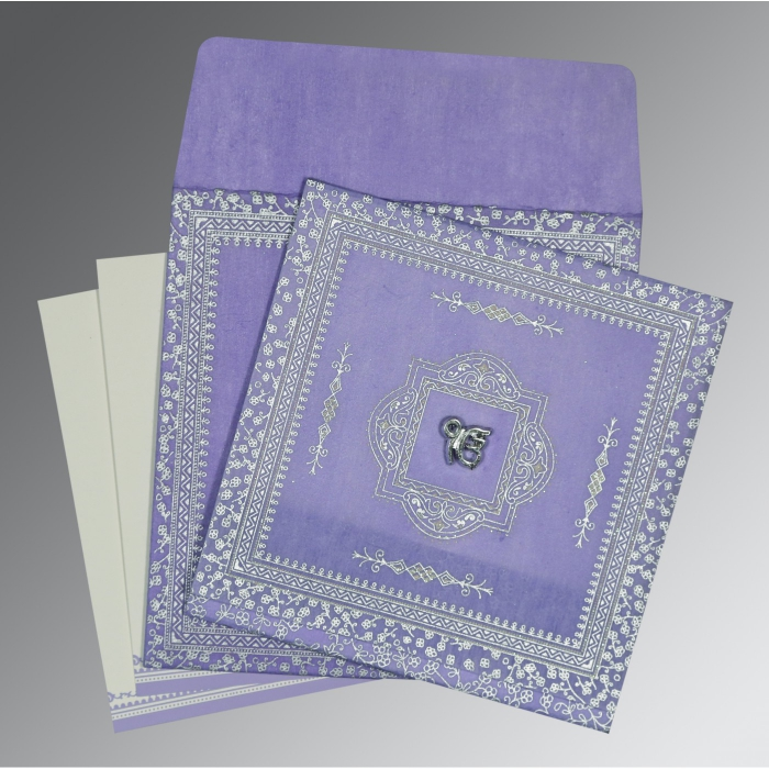 Purple Wooly Glitter Wedding Card : S-8205F - 123WeddingCards
