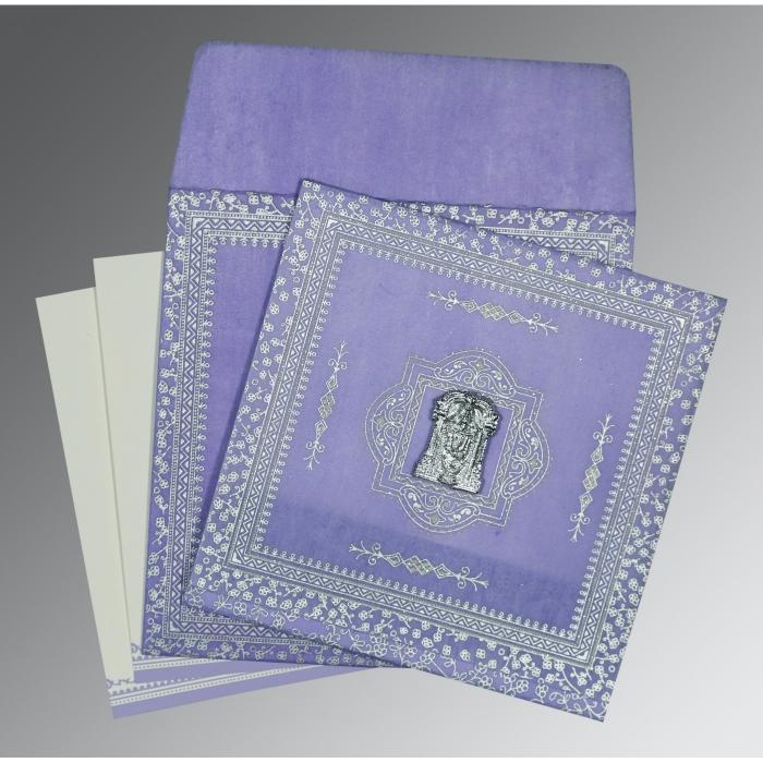 Purple Wooly Glitter Wedding Card : SO-8205F - 123WeddingCards