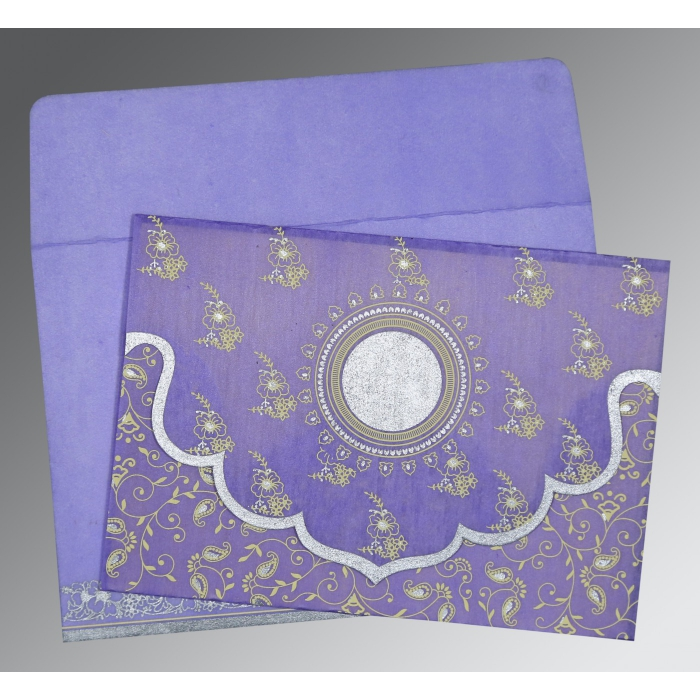Purple Wooly Screen Printed Wedding Invitation : D-8207D - 123WeddingCards