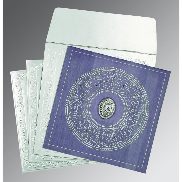 Purple Wooly Screen Printed Wedding Card : I-8214O - 123WeddingCards