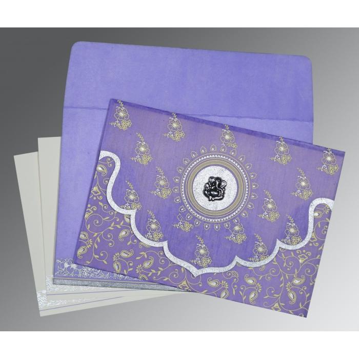 Purple Wooly Screen Printed Wedding Invitations : IN-8207D - 123WeddingCards